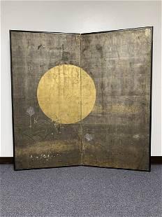 18th C. Japanese Screen - Moon over Musashino 1760