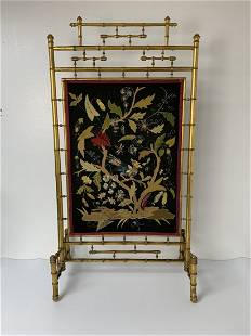 French Victorian Gilt Faux Bamboo Fire Screen