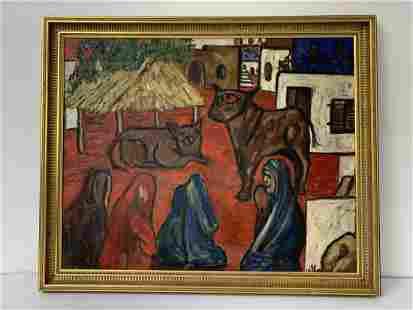 1965 Folk Art Painting. O/C Village Scene Signed Danier