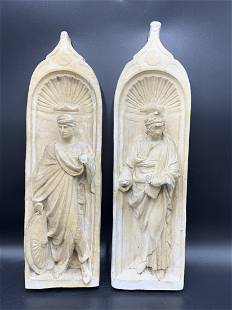 Antique Pair of Roman Sculpture Wall Plaques