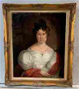 19th Century Oil on Canvas Portrait of Victorian Lady