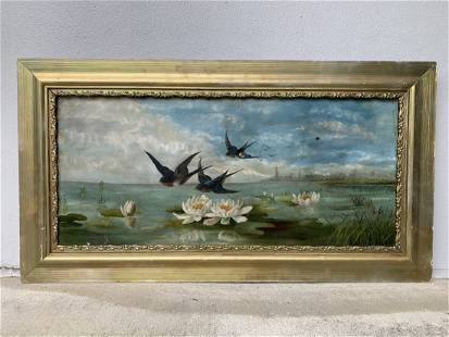 Oil on Canvas Swallows Flying over Lily Patch Painting