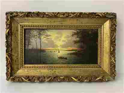 """Oil on Board """"Lake Sunset - Boats"""" Scene Painting"""