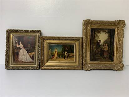 3 Oil/Board & Canvas Victorian Figural Paintings