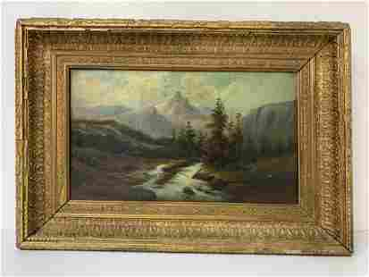 """Oil on Canvas """"Mountain River View"""" Painting"""
