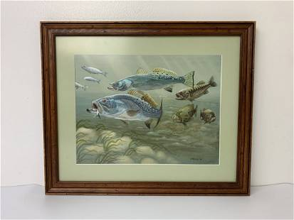Watercolor of Fish Feeding by J. Andrea