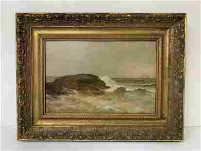 """19th Century Oil on Canvas """"Rough Waters"""" Seascape"""