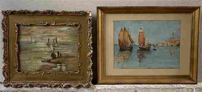 """Europe Watercolors """"Ships in Harbour"""" Paintings Signed"""