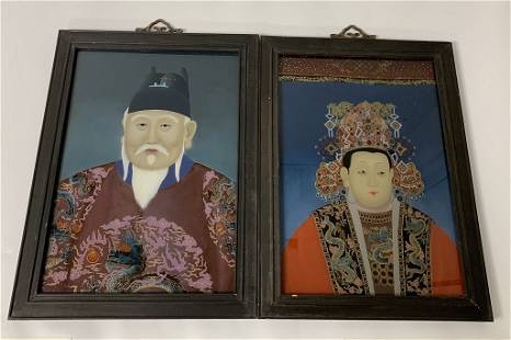 Pair of Chinese Portraits-Reverse Painted on Glass