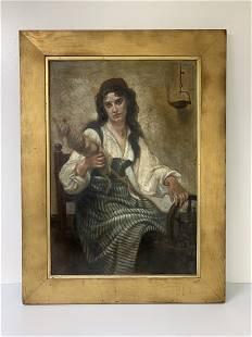 19th Century European Oil on Canvas of a Gypsy Woman