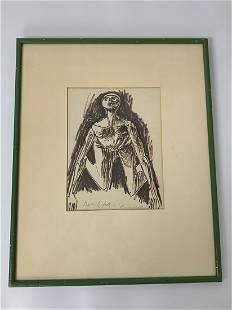 1952 Artist Signed Sketch of a Nude Figure