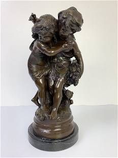 Bronze Boy & Girl Sculpture by August Moreau