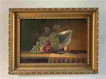 "Oil on Board- Still Life ""Fruit Bowl"" by Klein"