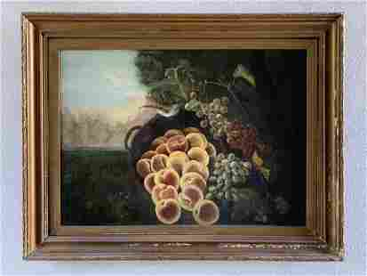 """Oil on Board - Still Life """"Fruits with Bird"""" Painting"""