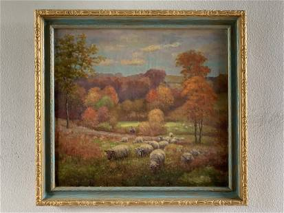 """Oil/Canvas """"Fall Landscape & Sheep"""" by Charles Meurer"""