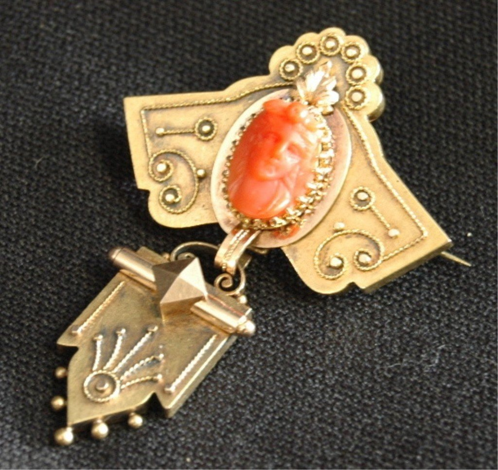 3: Victorian Aesthetic Movement Coral Cameo Brooch