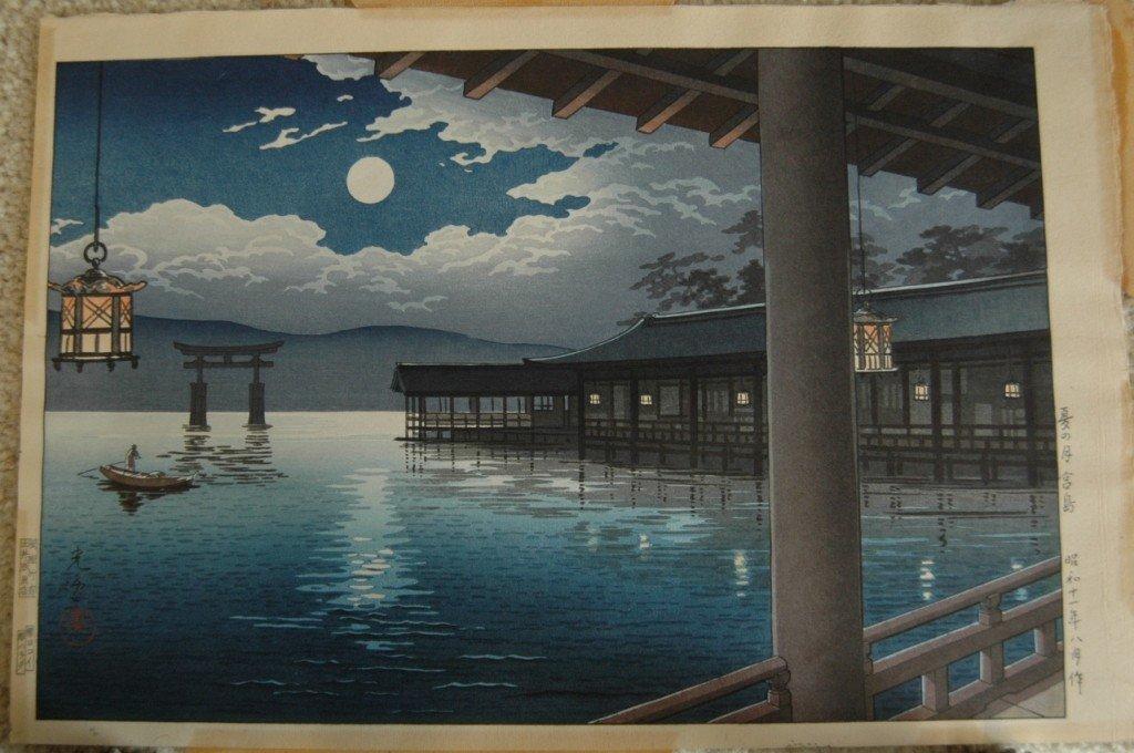"8: Japanese Woodblock ""Moonlit Night"""