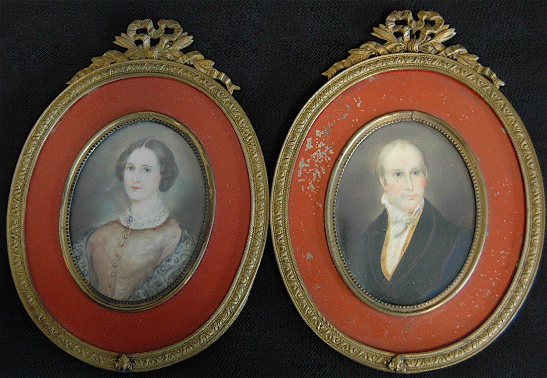1: Pair of Miniature Portraits on Ivory