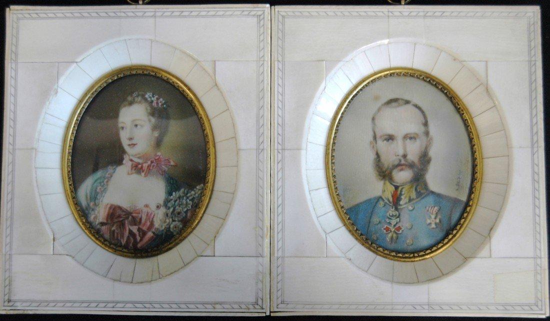 2: Pair of Miniature Portraits on Ivory