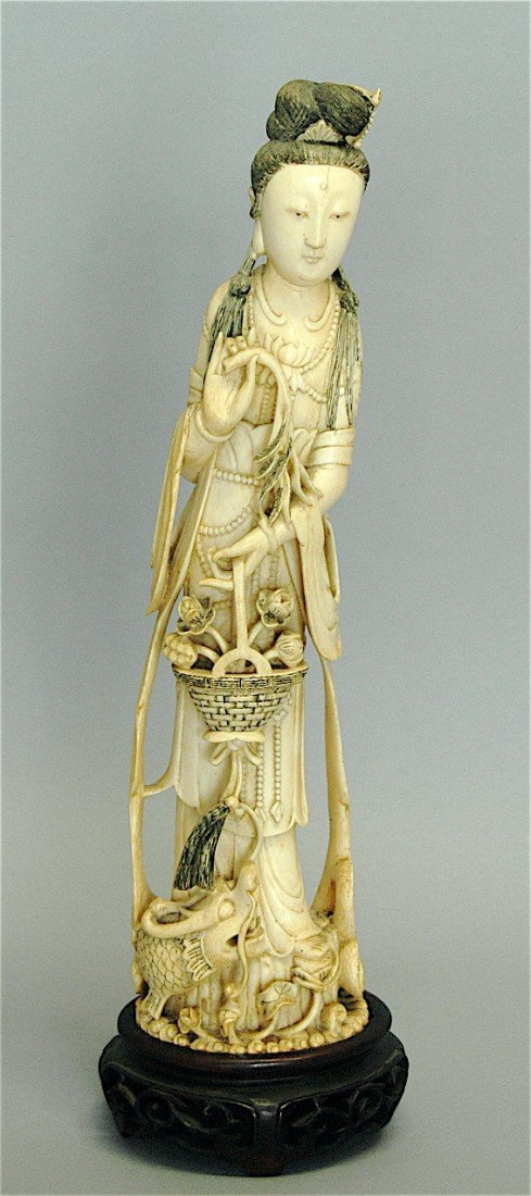78: Chinese Carved Ivory Empress with Flower Basket