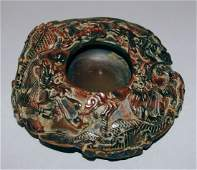 92: Chinese Dragon Carved Agate Inkwell