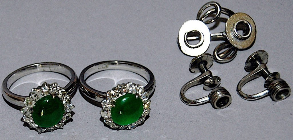 8: Pair of Jade and Diamond Rings/Earrings/Pin