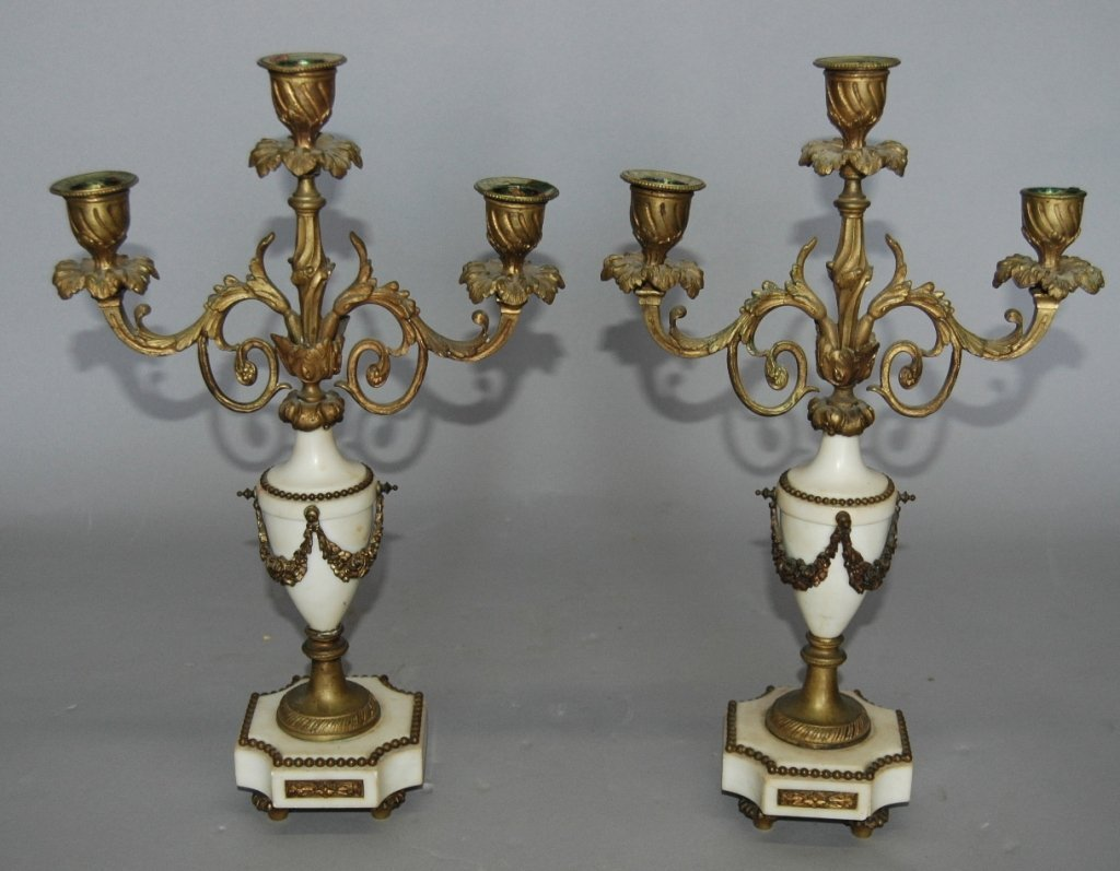 8: Pair of French Marble and Bronze Candelabra