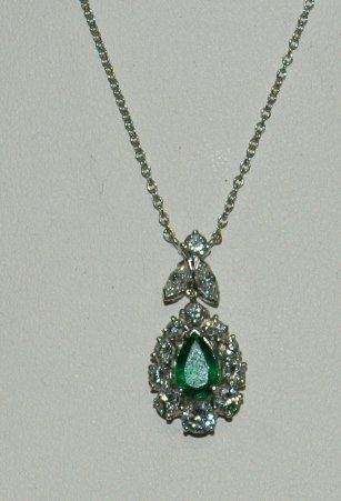 16: Emerald and Diamond 14K Necklace