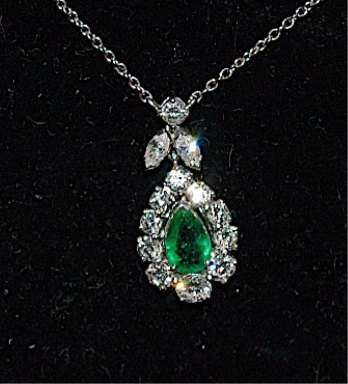 16: Emerald and Diamond 14K Necklace - 2