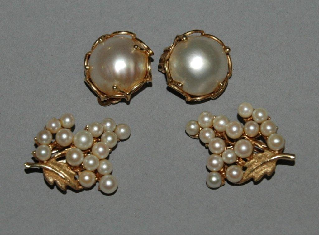 63: 2 Pair of Pearl Earrings
