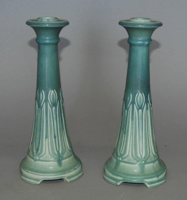 73: Rookwood Pottery Candlesticks