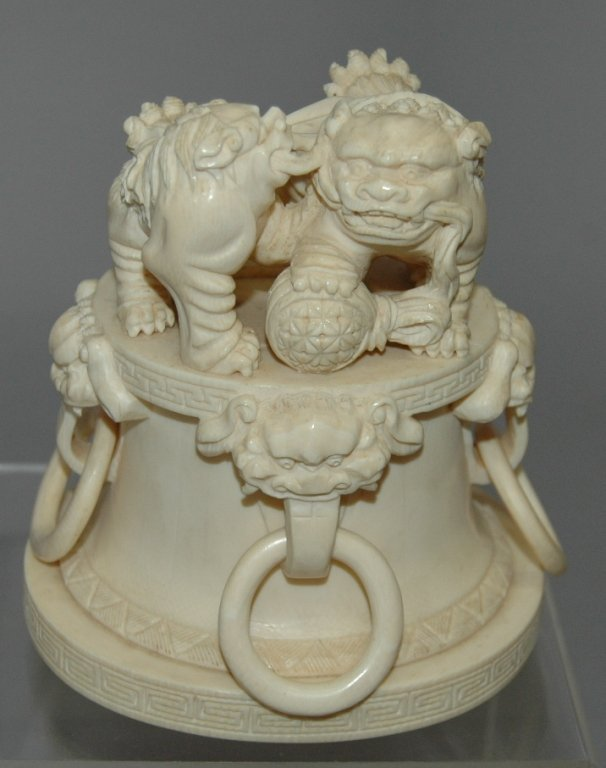 80: Carved Chinese Ivory Foo Dogs
