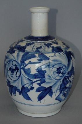 Korean Blue & White Stoneware Bottle