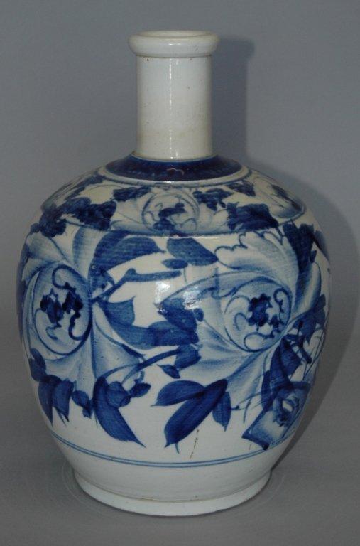 94: Korean Blue & White Stoneware Bottle