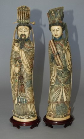 Carved Ivory Polychrome Emperor And Empress