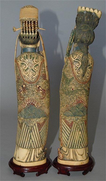 109: Carved Ivory Polychrome Emperor and Empress - 2