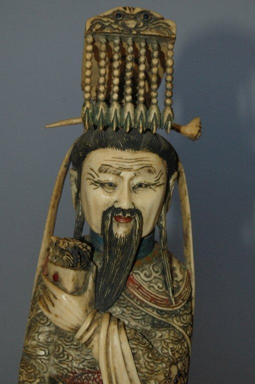 109: Carved Ivory Polychrome Emperor and Empress - 3
