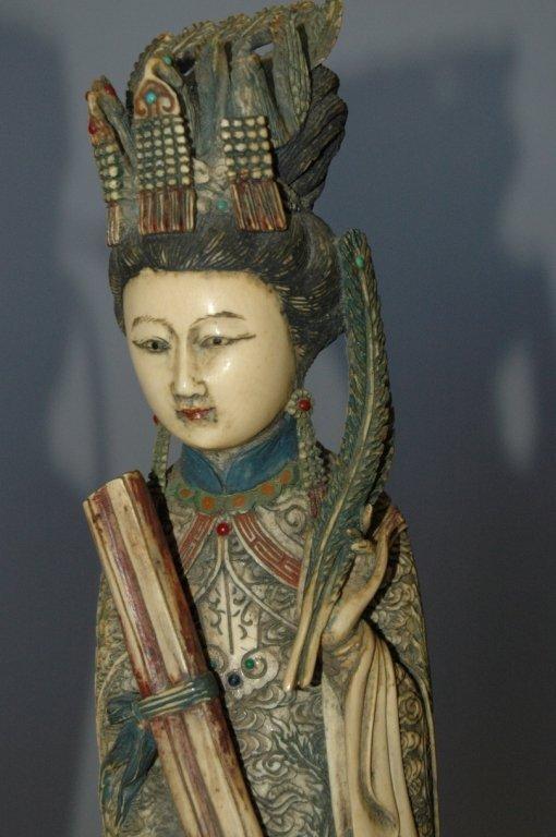 109: Carved Ivory Polychrome Emperor and Empress - 4