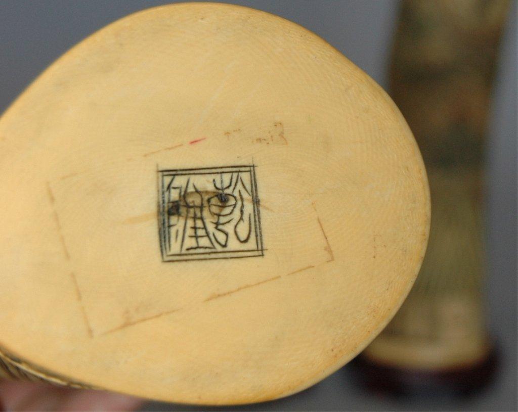 109: Carved Ivory Polychrome Emperor and Empress - 5