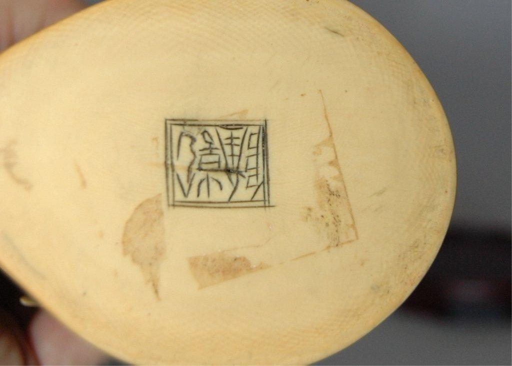 109: Carved Ivory Polychrome Emperor and Empress - 6