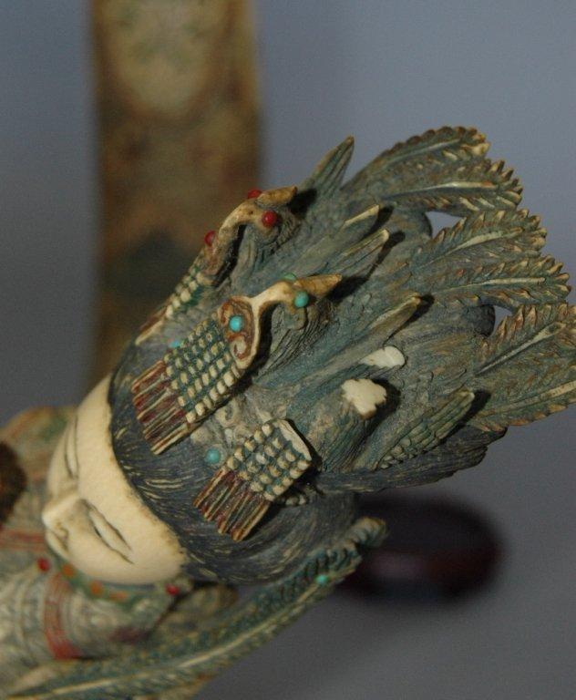 109: Carved Ivory Polychrome Emperor and Empress - 7
