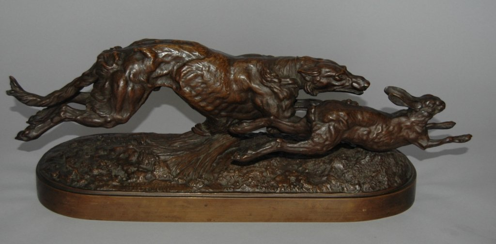 111: C. F. Woerffel Bronze Sculpture of Borzoi