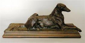 Jacques Merculiana Bronze Clad Sculpture Of Borzoi
