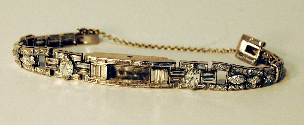 126: Lady's Diamond & Platinum Bracelet  & Watch Shell