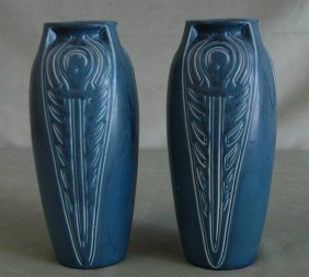 Pair Of Rookwood Peacock Feather Vases