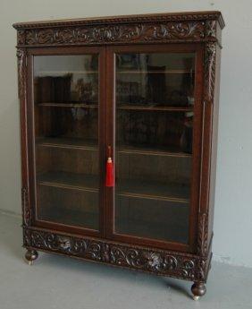 Carved Double Door Bookcase