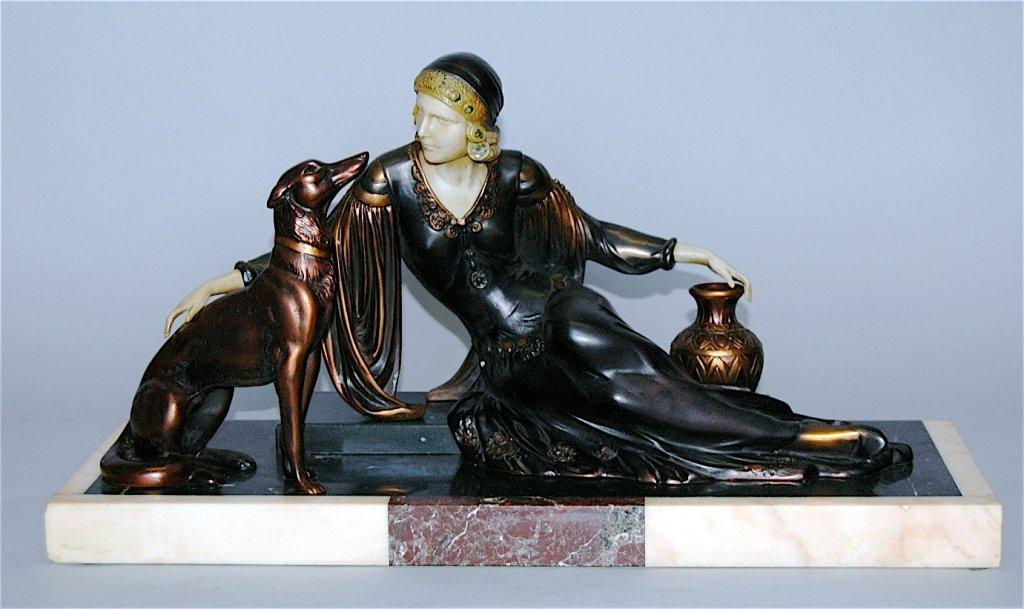134: Art Deco Polychrome Bronze Sculpture