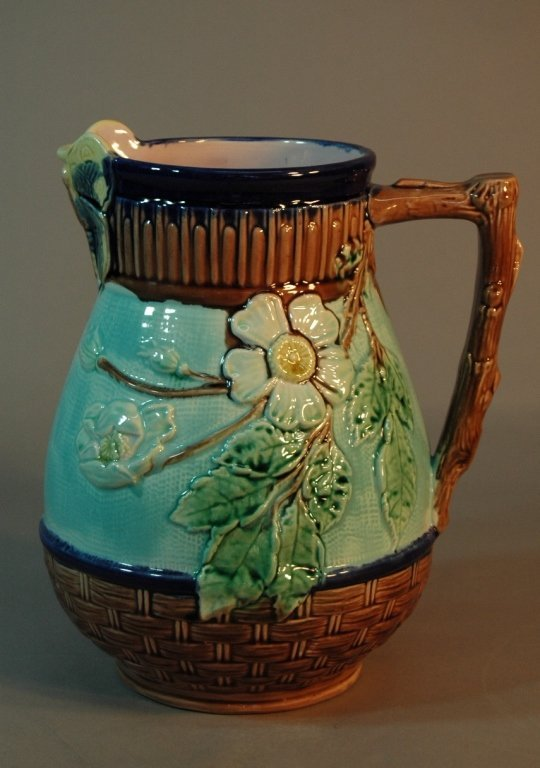 10: Majolica Basket Weave and Floral Pitcher