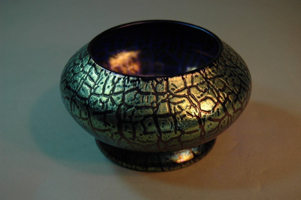18: Signed Loetz Crackle Blue Footed Bowl