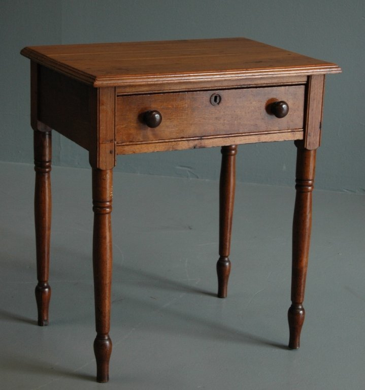 24: 1800's Sheraton Single Drawer Cherry Table